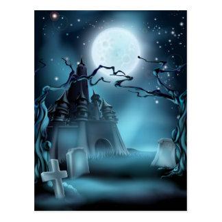 Fondo de Halloween del cementerio y del castillo Tarjetas Postales