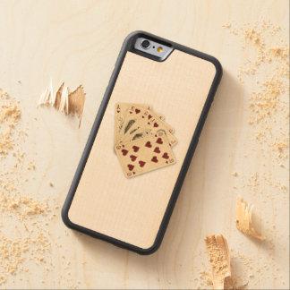 Fondo de la arpillera del vintage de los corazones funda de iPhone 6 bumper arce
