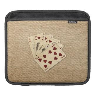 Fondo de la arpillera del vintage de los corazones funda para iPads