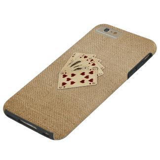 Fondo de la arpillera del vintage de los corazones funda para iPhone 6 plus tough