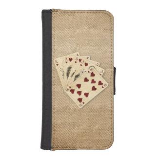 Fondo de la arpillera del vintage de los corazones fundas tipo billetera para iPhone 5