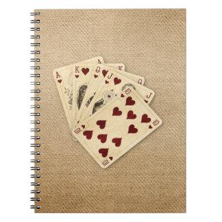 Fondo de la arpillera del vintage de los corazones spiral notebook