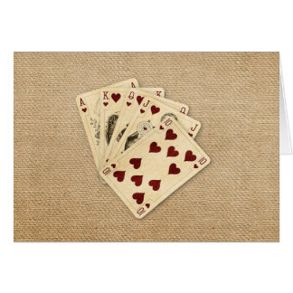 Fondo de la arpillera del vintage de los corazones tarjeta de felicitación