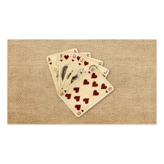 Fondo de la arpillera del vintage de los corazones tarjetas de visita