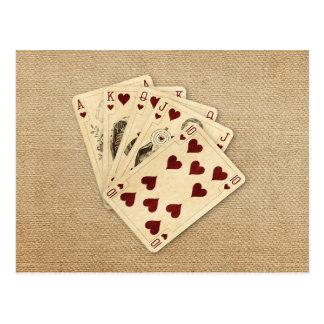 Fondo de la arpillera del vintage de los corazones tarjetas postales