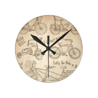 Fondo de la bicicleta reloj redondo mediano