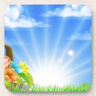 Fondo de la cesta de los huevos de Pascua Posavasos De Bebidas