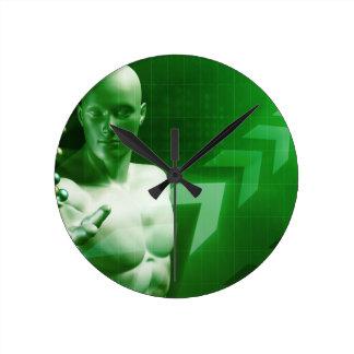 Fondo de la ciencia abstracta con la investigación reloj redondo mediano