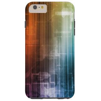 Fondo de la ciencia con las líneas arte de Techno Funda De iPhone 6 Plus Tough