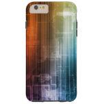 Fondo de la ciencia con las líneas arte de Techno Funda Resistente iPhone 6 Plus