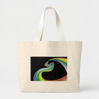 Fondo de la cinta del corazón del arco iris bolsa tela grande