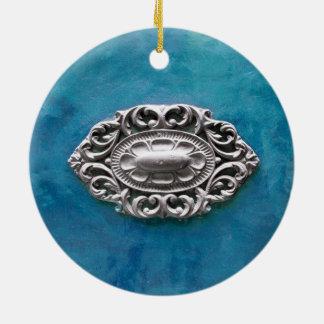 Fondo de la esmeralda del vintage adorno navideño redondo de cerámica