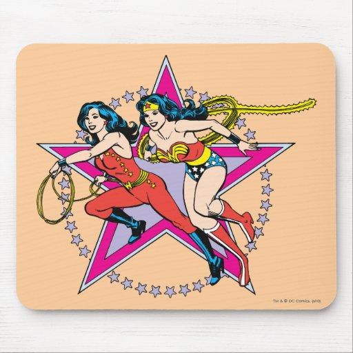 Fondo de la estrella de la Mujer Maravilla Mousepads