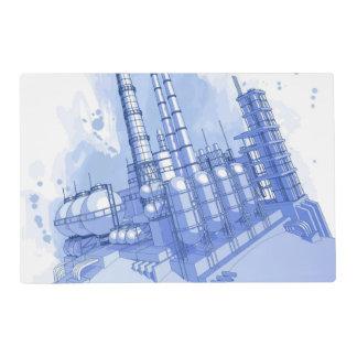 Fondo de la fábrica de productos químicos y de la tapete individual
