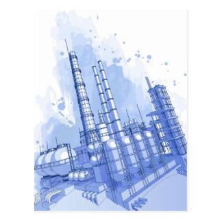 Fondo de la fábrica de productos químicos y de la  tarjeta postal