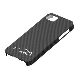Fondo de la fibra de carbono de la deriva w Faux d iPhone 5 Case-Mate Fundas
