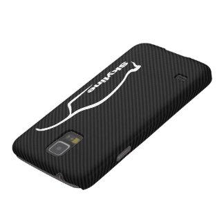 Fondo de la fibra de carbono del logotipo w/Faux d Carcasas De Galaxy S5