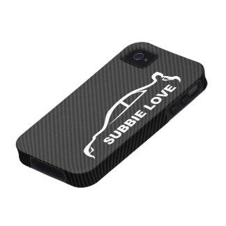 Fondo de la fibra de carbono del STI Impreza w Fau Vibe iPhone 4 Carcasas