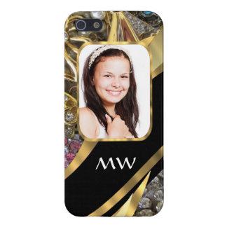 Fondo de la foto de la joyería del oro iPhone 5 funda