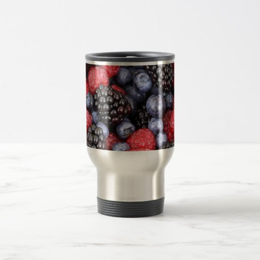 Fondo de la fruta del bosque taza de café