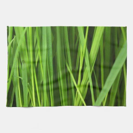 Fondo de la hierba verde toallas de cocina