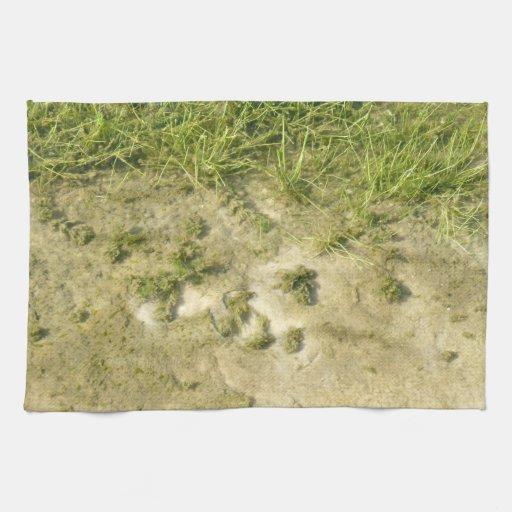 Fondo de la hierba y de la arena de la charca toallas de cocina