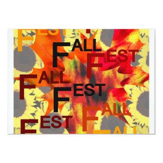 Fondo de la hoja con el Fest de la caída repetido Invitación 12,7 X 17,8 Cm