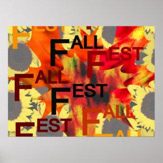 Fondo de la hoja con el Fest de la caída repetido  Póster