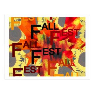 Fondo de la hoja con el Fest de la caída repetido Postal
