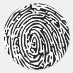 Fondo de la huella dactilar etiqueta redonda
