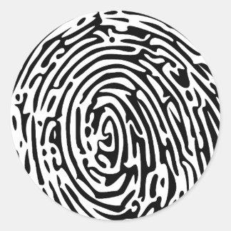 Fondo de la huella dactilar pegatina redonda