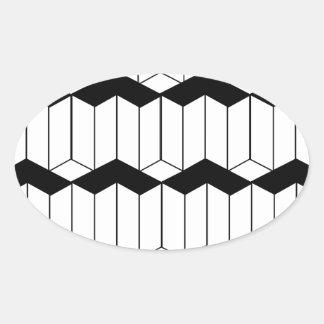 Fondo de la ilusión óptica con las formas 3d pegatina ovalada