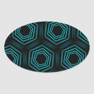 Fondo de la ilusión óptica de la turquesa pegatina ovalada