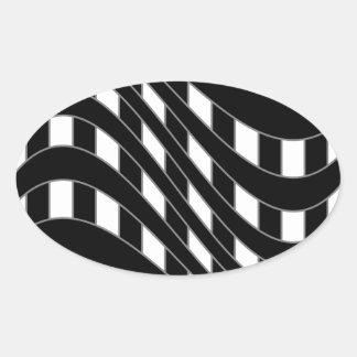 Fondo de la ilusión óptica pegatina ovalada