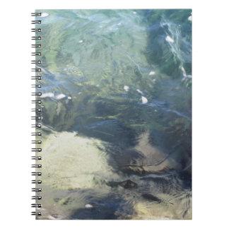Fondo de la naturaleza de fluir transparente de la spiral notebook