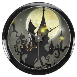 Fondo de la noche de la Luna Llena de Halloween Reloj Pecera