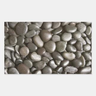 Fondo de la piedra del negro de la roca del río - pegatina rectangular