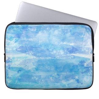 Fondo de la pintura de la acuarela, azul de océano funda computadora