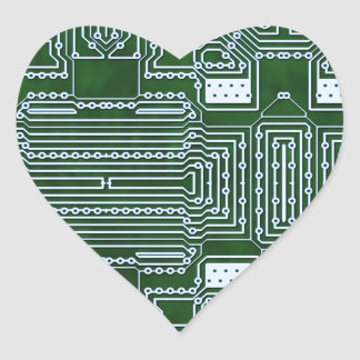Fondo de la placa de circuito pegatina en forma de corazón