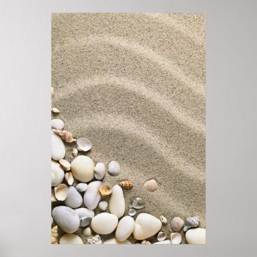 Fondo de la playa de Sandy con las cáscaras y las  Póster