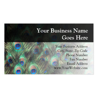Fondo de la pluma del pavo real plantilla de tarjeta de negocio