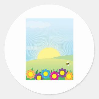 Fondo de la primavera pegatinas redondas