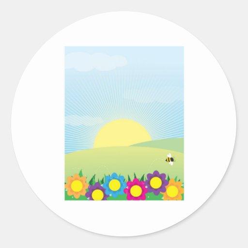 Fondo de la primavera pegatina redonda