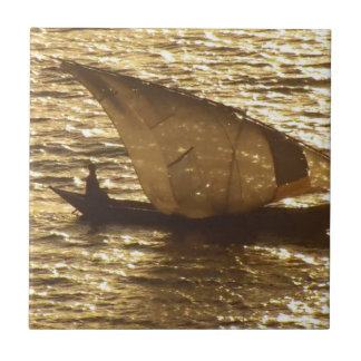 Fondo de la puesta del sol del lago Victoria Kenia Azulejo Cuadrado Pequeño