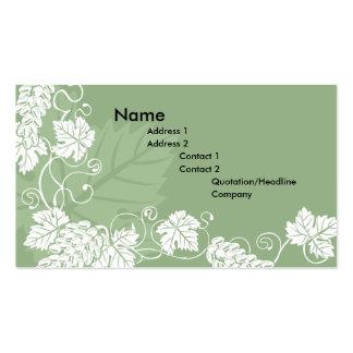 fondo de la tarjeta de visita de la vid de uva