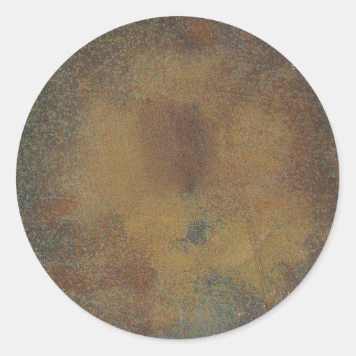 Fondo de la textura del moho de Brown oscuro Etiqueta Redonda