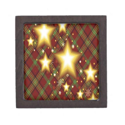 Fondo de las estrellas del amarillo, verde y rojo cajas de regalo de calidad