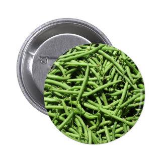 Fondo de las habas verdes pin redondo de 2 pulgadas