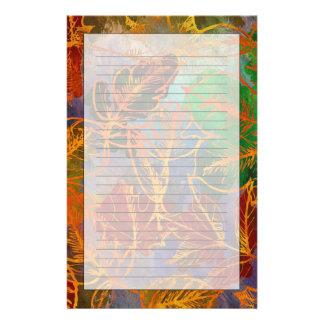 Fondo de las hojas de otoño del arte en colores personalized stationery