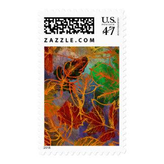 Fondo de las hojas de otoño del arte en colores sello postal